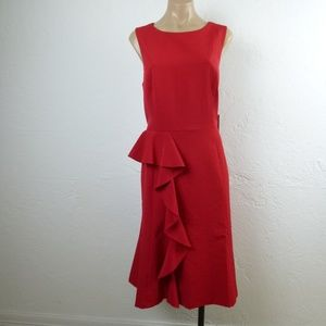 Vince Camuto Red Ruffle Dress 12 14